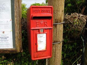 Red post office box