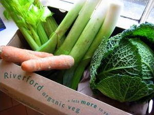 Box of Riverford Organic vegetables